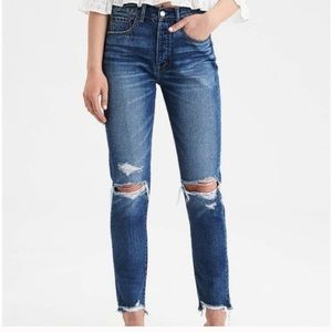 American Eagle Hi-rise Girlfriend distressed jeans